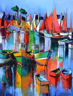 French Art Network   Lepape, Eric - LA PORT EN FETE - (45 11/16 x 35 1/16 inches) - oil on linen painting.