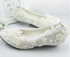 Silver Shoes For Wedding White Wedding Shoes Princess Crystal Pearl Wedding Dress Bride Shoes Bridemaid Shoes Manmade White Lace Shoes Lowheel Womens Shoes On Sale From Bestmatch, $20.95| Dhgate.Com