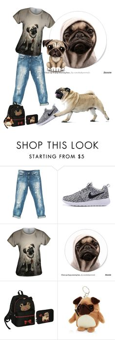 """Pug"" by bren-johnson ❤ liked on Polyvore featuring Sans Souci, David & Goliath and New Look"