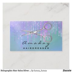 Holographic Hair Salon Silver Scissors Pink Drips Business Card