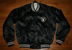 Vintage OAKLAND RAIDERS FOOTBALL black Satin Snap JACKET-Men's MEDIUM-FREE SHIP