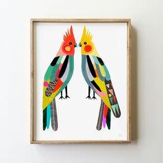 Little Cockatiels Art Print - inaluxe - 1 Bird Painting Acrylic, Pink Painting, Bird Artwork, Guache, Arte Popular, Bird Illustration, Cockatiel, Gravure, Art Design