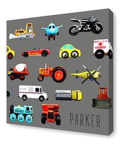 This Multicolor Vehicles Personalized Canvas is perfect! #zulilyfinds