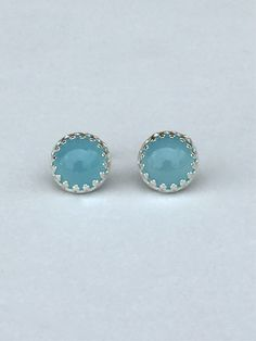 genuine ocean blue chalcedony 8mm smooth round stud earrings with 925 sterling silver by jewelrybyelisha on Etsy $60.00