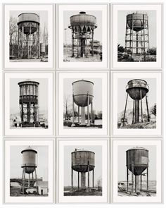 Bernd and Hilla Becher Water Towers 1980.  Love these photographs and how they present specimens of similar objects, much like I am doing with my new series of paintings.