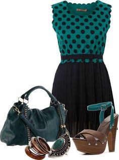 Women's outfits. Women's fashion. Women's clothes. Spring. Summer. Polka dots. Dress. Sandals. Heels. Turquoise.