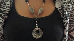 """Rustic looking 1 1/2""""  tumbled #stone, 4mm-6mm glass beads with 2"""" round marbled glass pendant on 28"""" #silver tone """"Y"""" necklace. Matching earrings have 1"""" round marbled glass... #trending #coordinating #set #jewelry #vintage #statement #gray #black"""