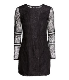 Lace Dress Product Detail | H&M US Short dress in lace with button at back of neck and long sleeves. Lined.