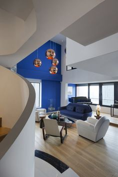 Blue Penthouse by Dariel Studio 2 Impacting Through Bright Colors: Blue Penthouse in Shanghai