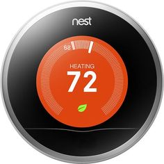 Nest - Learning Thermostat - 2nd Generation - Stainless-Steel - Larger Front
