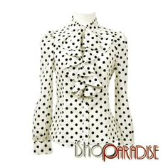 Beige Hippie Top Ladies Gothic Party Polka Dot Ruffle Shirt Blouse - Fashion - iShop-Paradise Wholesale Fashion