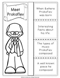 Prokofiev Foldables.  Studying composers?     This file contains TWO different FOLDABLES in BOTH COLOR AND B/W  PROKOFIEV & HIS MUSIC FOLDABLES