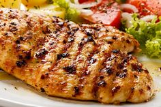 This grilled chicken breast is marinated overnight and grilled. Grilled Chicken Breast Recipe from Grandmothers Kitchen. Grilling Recipes, Cooking Recipes, Zone Recipes, Grilled Chicken Recipes, Healthy Chicken, How To Cook Chicken, Food Dishes, Main Dishes, Dinner Recipes
