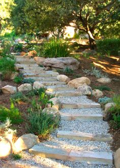 Stone And Pea Gravel Steps Design, Pictures, Remodel, Decor and Ideas Backyard Walkway, Outdoor Walkway, Garden Stairs, Backyard Landscaping, Front Walkway, Walkway Ideas, Gravel Walkway, Landscape Stairs, House Landscape
