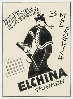 Lill Tschudi (1911-2001).   Advertising Designs nine pen and ink designs for advertising commissions, on all on wove paper.
