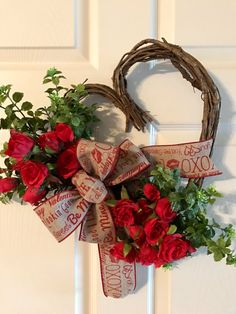 VALENTINE WREATH,Heart Grapevine Wreath, Valentine Red Rose Wreath,Valentine  Door Hanger,Valentine Wreath,Wildflower Wreath