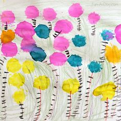 Painting with Truffula Trees - Dr. Seuss art projects