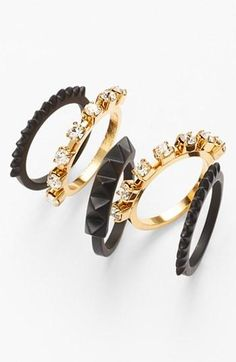 Black and gold stackable rings