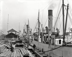 "Circa 1906. ""Along the docks -- Mobile, Alabama."" 8x10 inch dry plate glass negative, Detroit Publishing Company."