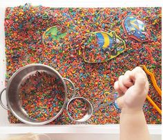 Looking for some sensory fun to keep the kids busy today? How about this fabulous idea of placing our wooden magnets into a tub of rice.  This rice looks so gorgeously colourful but if you're not quite as organised as @finding_myself_young I'm sure it would be just as fun with plain rice from the pantry.  Wooden vehicles or dinosaur magnets - great for play on a magnet board and also great for games.  http://ift.tt/1t2cZNf