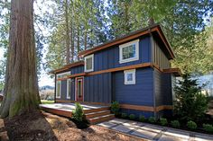 Relax in an energy effecient custom park model or small home built by West Coast Homes and customized to your lifestyle. View completed park models here. Tiny House Big Living, Tiny House Cabin, Small House Plans, Small Living, Lakeside Cottage, Lake Cottage, Modern Cottage, Tiny House Builders, Tiny House Design