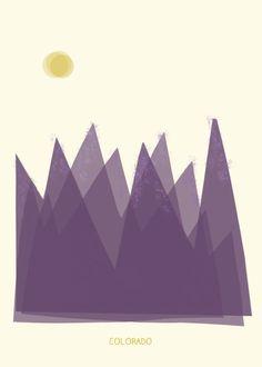 Colorado art print illustration  8x10  purple by confettielove