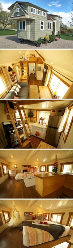 This beautiful, 200 sq ft tiny house was designed and built for a young family. The home was created by Maximus Extreme Living Solutions of West Haven, Utah. It's design and building process were documented and featured on the popular show, Tiny House Nation. The home's layout includes a full kitchen, bathroom, living room, dining space and two loft bedrooms. #tinybathrooms #tinyhousekitchenlayout #tinyhomekitchenlayout