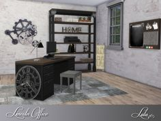 An industrial style office with a hint of steampunk . Perfect for your loft apartment , or why not in the garage of you home  Found in TSR Category 'Sims 4 Study Sets'