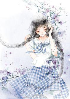 记忆里的格子裙_涂鸦王国 原创绘画平台 www.poocg.com