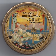 "Beautiful 1920s Vintage ""Celi Polvos"" Ladies Face Powder Tin with Mirror Inside 