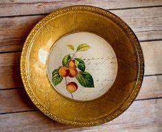 "Decoupage Wedding Plate-""Vintage Fruit Design"" in gold leaf, green, orange, and cream"