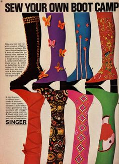 """Singer """"Sew Your Own Boot Camp"""" advertisement, early 70′s"""