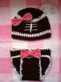 Baby Girl Football Crochet Hat And Diaper Cover by BrightCrochet, $32.00
