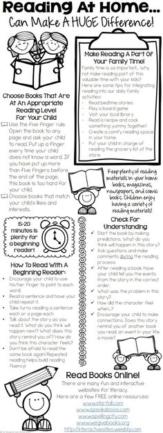 Reading At Home - Tips For Parents. This printable includes tips for : - integrating reading in our daily family activities - choosing appropriate books - tips for helping beginning readers - practicing fluency & developing comprehension skills! Reading Homework, Reading At Home, Kindergarten Reading, Teaching Reading, Children Reading, Reading Counts, Art Children, Student Teaching, Reading Resources