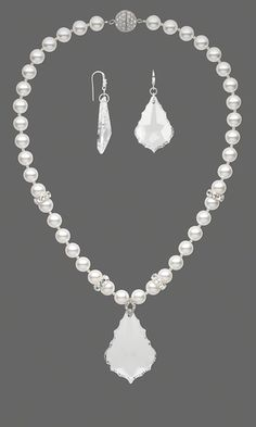 Single-Strand Necklace and Earring Set with German Crystal Focals and Swarovski Crystal Pearls and Beads