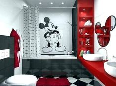 Decorating Tips for Kids Bathrooms Unique Mickey Mouse Bathroom Ideas and Design. - Decorating Tips for Kids Bathrooms Unique Mickey Mouse Bathroom Ideas and Design for Kids Mickey Mo - Kids Bathroom Paint, Mickey Mouse Bathroom, Mickey Mouse Room, Mickey House, Mold In Bathroom, Washroom, Mickey Mouse Kitchen, Bathroom Vanities, Master Bathroom