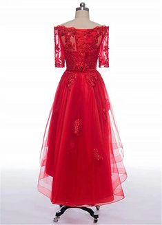 811cb6c80db Kevins Bridal High Low Prom Dresses Sleeves Off Shoulder Bridesmaid Dress  Appliques