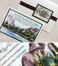 Yosemite watercolor invitations
