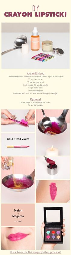 7 DIY Crayon Lipsticks to Make Now // In need of a detox? 10% off using our discount code 'Pin10' at www.ThinTea.com.au