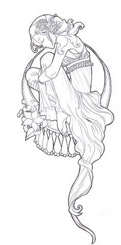 Art nouveau girl coloring page