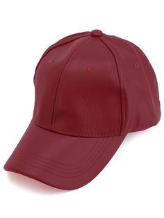 #AdoreWe #SheIn Hats& Gloves - SheIn Red Faux Leather Hip Hop Baseball Cap - AdoreWe.com