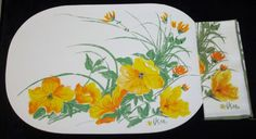 Vintage Vera Neumann Placemats & Napkins Set-6 each-Ladybug Signature- Poppies