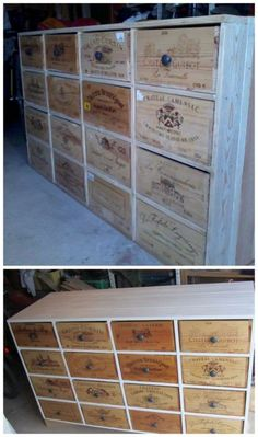 Shoe storage from pallets and wine boxes