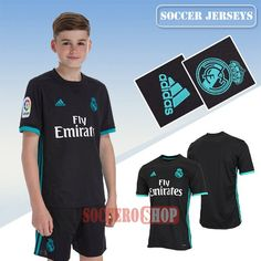 Custom Made Nice Black Real Madrid Away Kids New Soccer Jerseys With My Name 2017 2018 Personalised