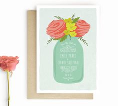 Mason Jar Floral Save the Date -Rustic Save the Date by Lucy Loves Paper http://www.etsy.com/listing/224381350/