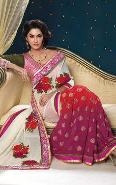 OFF WHITE, RED & PINK GEORGETTE LATEST SAREE - SHRI 5109