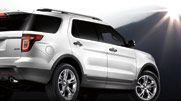 The Explorer Limited in White Platinum Metallic with standard 20-inch painted aluminum wheels.