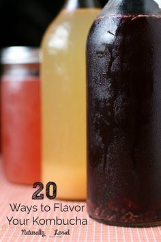 Ditch the soda and make yourself kombucha, a tasty probiotic-rich drink. Need fl… Ditch the soda and make yourself kombucha, a tasty probiotic-rich drink. Need flavor inspiration? Here are 20 of the best ways to flavor your kombucha. Kombucha Flavors, How To Brew Kombucha, Kombucha Tea, Flavored Kombucha Recipe, Kombucha Probiotic, Making Kombucha, Kombucha Brewing, Probiotic Drinks, Vegetarian Cooking