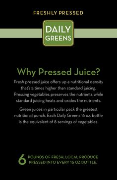 Why Pressed Juice? This stuff is AWESOME  #DailyGreens