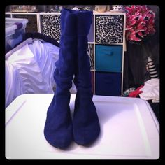 Electric Blue Suede Boots Suede boots with adjustable calf, only worn a hand full of times in great condition  Shoes Lace Up Boots